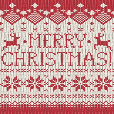renos de navidad: Estilo escandinavo Feliz Navidad patrón de tejido sin costuras con ciervos, ilustración vectorial Vectores