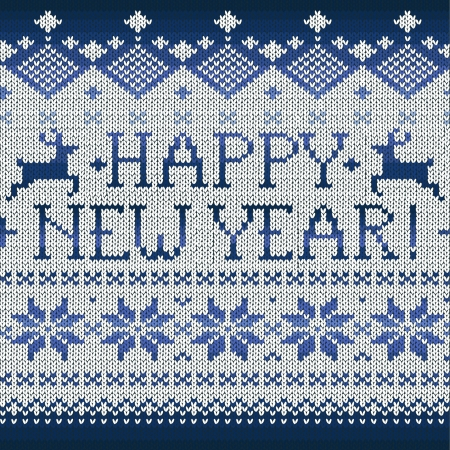 Happy New Year: Scandinavian style seamless knitted pattern with deers, vector illustration Vector