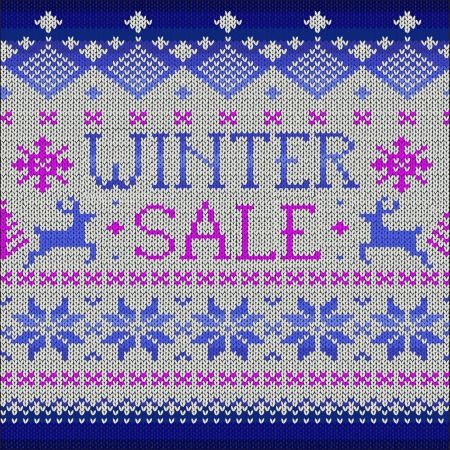 warm clothes: Winter Sale: Scandinavian style seamless knitted pattern with deers, vector illustration