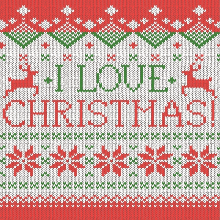 I love Christmas: Scandinavian style seamless knitted pattern with deers Vector