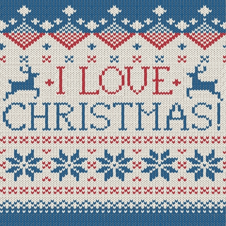 I love Christmas: Scandinavian style seamless knitted pattern with deers Stock Vector - 24587159