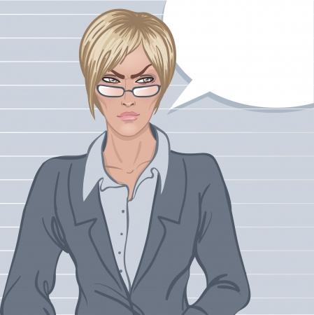 jefe enojado: Jefe estricta: Angry joven mujer de negocios molesto con bocadillo en blanco sobre blanco sobre fondo gris. Ilustración del vector.