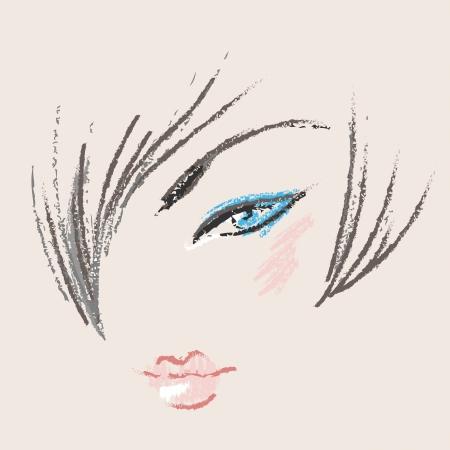 Cara de mujer hermosa para el diseño de maquillaje Ilustración de vector