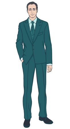 Attractive businessman in turquoise suit, vector illustration Stock Vector - 24587200