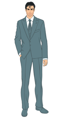 sociable: Young standing businessman (Arab or Latino type) - vector