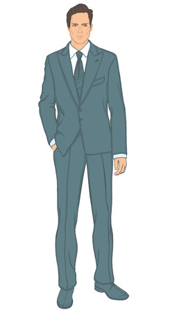 handsome young man: Attractive businessman in turquoise suit, vector illustration  Illustration