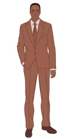 afroamericanas: Joven empresario (tipo afroamericano) - ilustraci�n vectorial
