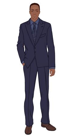 carribean: Joven empresario (tipo afroamericano) - ilustraci�n vectorial