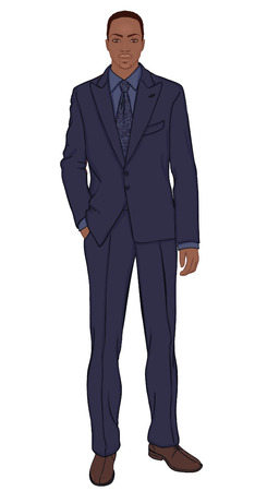 africans: Young businessman (African American type) - vector illustration