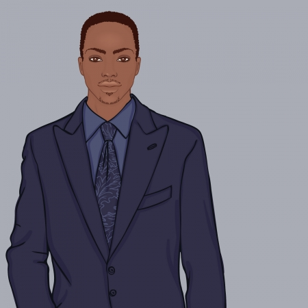 sociable: Young businessman (African American type) - vector illustration