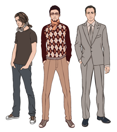Three men of different ages vector illustration set