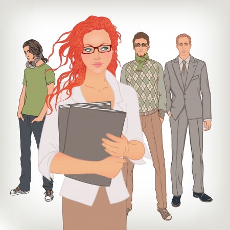 Human resources. Hiring manager is choosing the employee. Vector illustration. Vector
