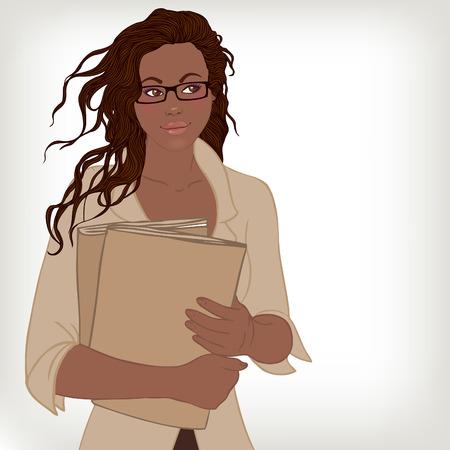 amerikalılar: Gözlük klasörleri tutan genç güzel Afro-Amerikan iş bayan Çizim