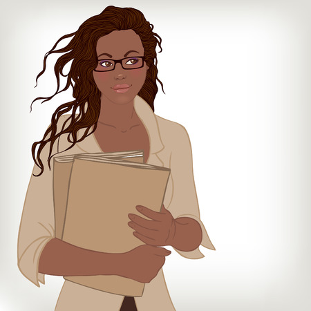 african business: Young pretty African American business lady in eyeglasses holding folders