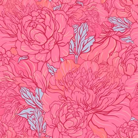 Elegant Seamless color peony pattern on gray background, vector illustration