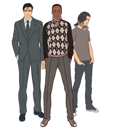 adolescent african american: Three men of different ages and different races vector illustration set