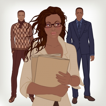 professional relationship: African American couple, business casual style. Vector illustration.