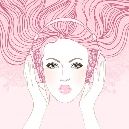 헤드폰에서 아름 다운 소녀 음악을 듣고 꿈의 그림입니다. 일러스트