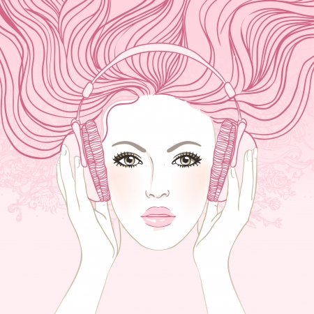 illustration of dreaming beautiful girl listening music in headphones. Vector