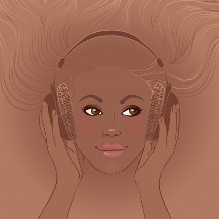 Illustration of african american beautiful girl listening music in headphones Vector