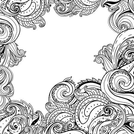 decorative lines: Paisley patterned frame, trendy modern wallpaper or textile  background  Illustration