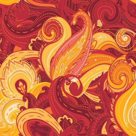 제곱 장식 꽃 페이즐리 패턴입니다. 일러스트