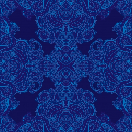 Squared ornamental floral paisley pattern. Vector
