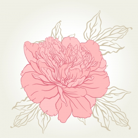 watercolours: Beautiful peony bouquet design on beige background. Hand drawn vector illustration.