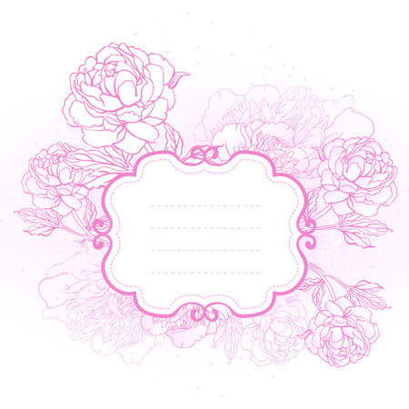 Beautiful peony bouquet design on beige background  Hand drawn vector illustration   Vector
