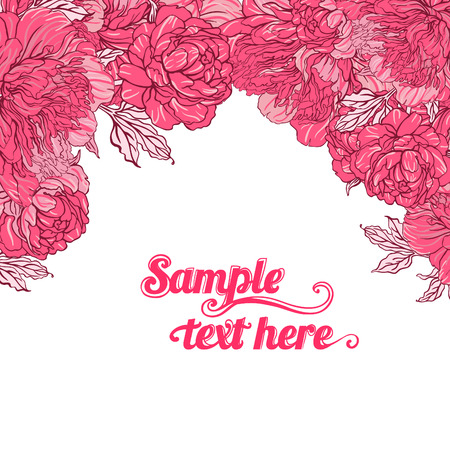 Beautiful peony bouquet design on beige background. Hand drawn vector illustration.  Vector