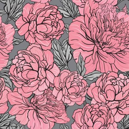 grey background: Patr�n de color peon�a Seamless elegante en fondo gris, ilustraci�n vectorial