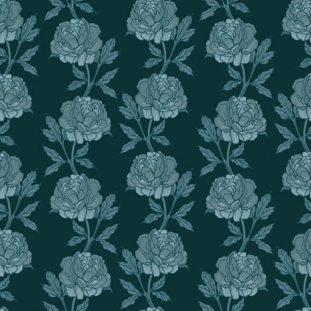 Elegant Seamless color peony pattern on gray background, vector illustration  Vector