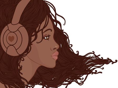 retratos: Perfil da menina africano americano bonito, com cabelos longos em fones de ouvido Ilustra��o
