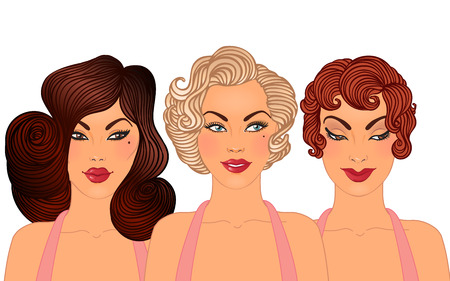 Pinup: classic hairstyles and makeup styles of 1950s. 3 pretty woman faces set isolated on white.