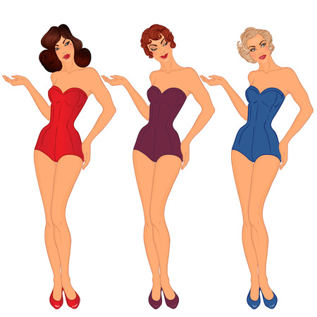 Pinup: exy ladiy in swimsuits. Style of 1950s. Vector illustration isolated on white. Illustration