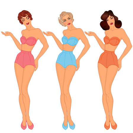 curvaceous: Pinup: exy ladiy in swimsuits. Style of 1950s. Vector illustration isolated on white. Illustration