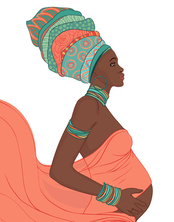turban: Young African American Mother pregnant isolated, vector illustration Illustration