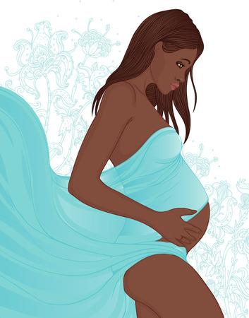 Retrato de una mujer embarazada hermosa afroamericana en flores en el fondo