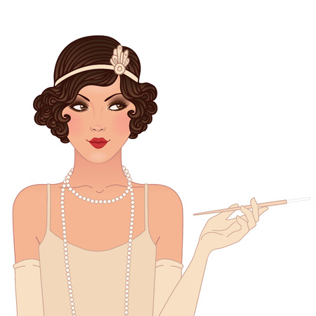 women smoking: Flapper girl: Retro party invitation design. Vector illustration. Illustration