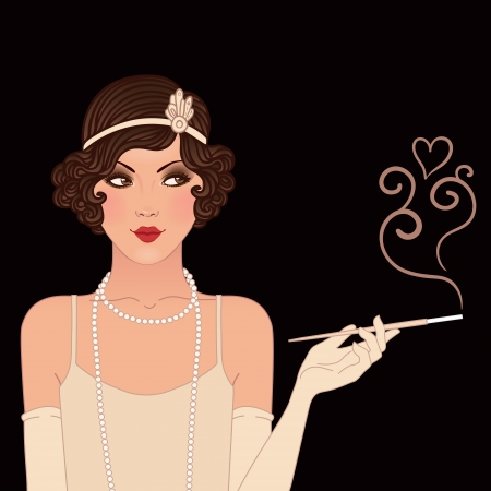 Flapper girl: Retro party invitation design. Vector illustration. Иллюстрация