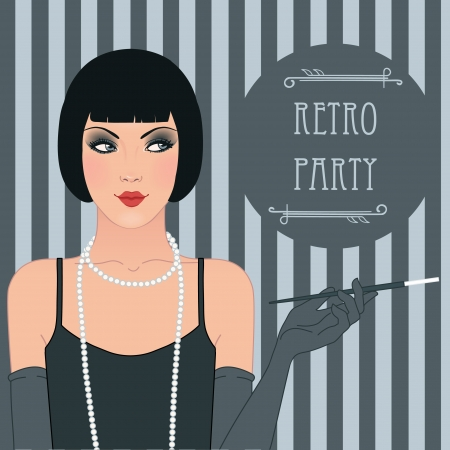 Flapper girl: Retro party invitation design. Vector illustration. Ilustrace