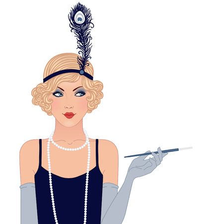Flapper girl: Retro party invitation design. Vector illustration. Ilustração