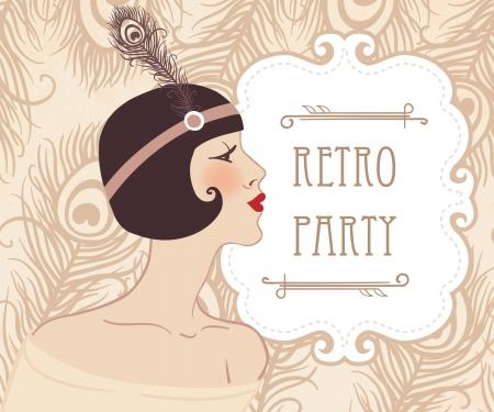 roaring 20s: Flapper girl: Retro party invitation design. Vector illustration.