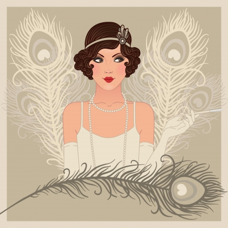 Flapper gitl series: Retro party invitation design  Vector