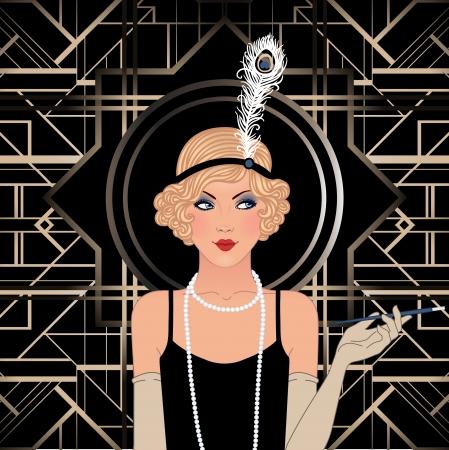 Flapper girl: Retro party invitation design. Vector illustration. Stock Vector - 24580477