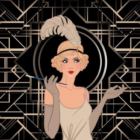 20s: Flapper girl: Retro party invitation design. Vector illustration. Illustration