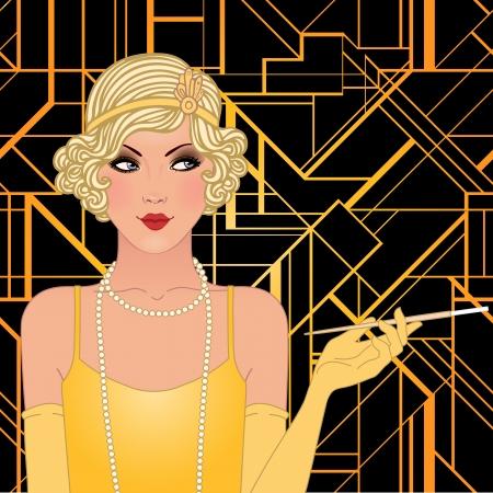 Flapper girl: Retro party invitation design. Vector illustration. Vector