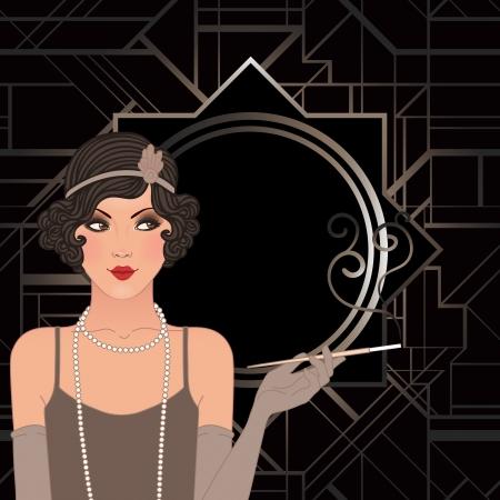 flapper: Chica de la aleta: Dise�o retro de la invitaci�n del partido. Ilustraci�n del vector.
