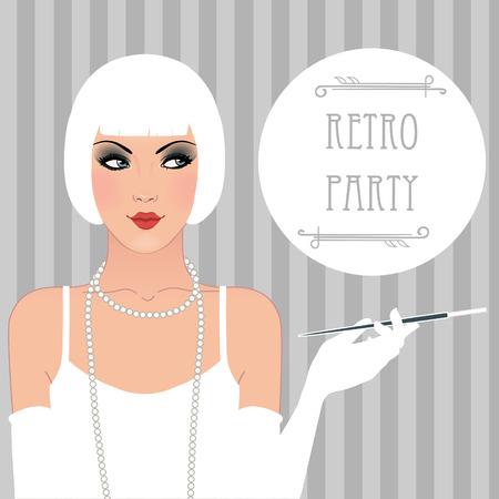 beige lips: Flapper girl: Retro party invitation design. Vector illustration. Illustration