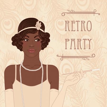 flapper: Muchachas de la aleta establecen: Diseño invitación de la fiesta retro estilo años 20 (mujer americam africano) Vectores